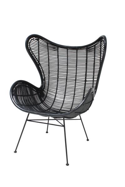 HK Living rotan egg stoel zwart