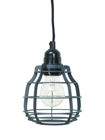 Lab lamp mat grijs, hanglamp met plafondkapje of schakelaar met stekker