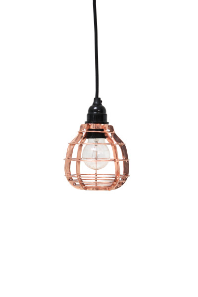 Lab lamp koper, hanglamp met plafondkapje of schakelaar met stekker