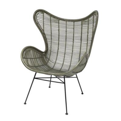 HK Living rotan egg stoel olijf groen
