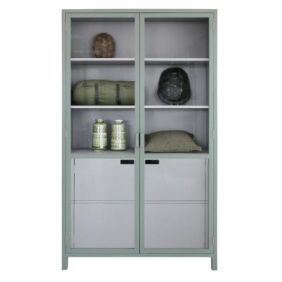 HK-living vitrinekast grijs groen 115x40x200cm