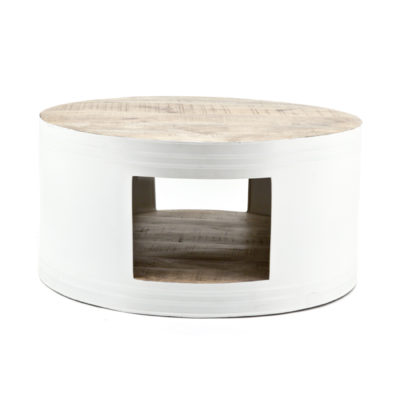 By Boo coffeetable barrel in wit en zwart