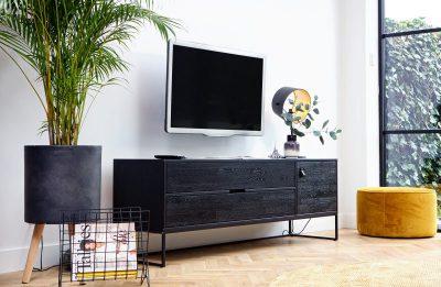 Silas tv meubel eiken geborsteld black night