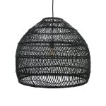 wicker hanging lamp ball black M